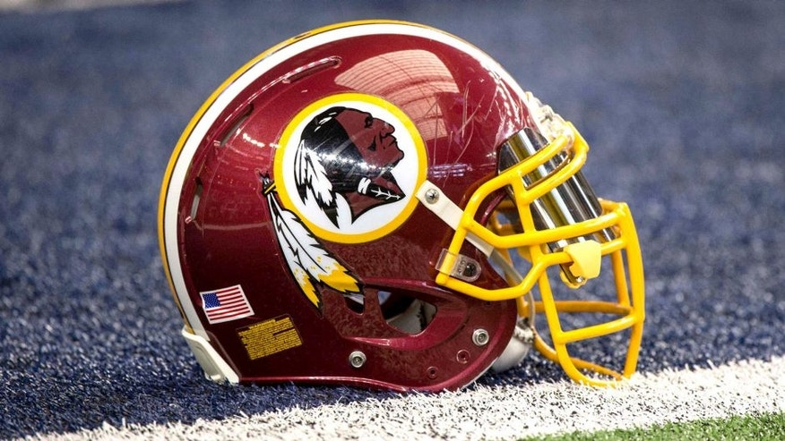 Jan 3, 2016; Arlington, TX, USA; A view of a Washington Redskins helmet and logo before the game between the Dallas Cowboys and the Washington Redskins at AT&T Stadium. The Redskins defeat the Cowboys 34-23. Mandatory Credit: Jerome Miron-USA TODAY Sports