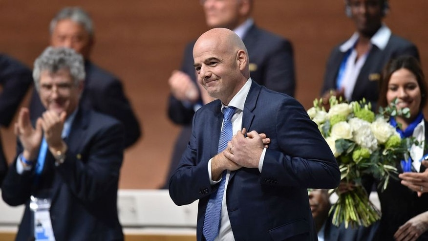 New FIFA president Gianni Infantino reacts after winning the FIFA presidential election during the extraordinary FIFA Congress in Zurich on February 26, 2016. AFP PHOTO / FABRICE COFFRINI / AFP / FABRICE COFFRINI (Photo credit should read FABRICE COFFRINI/AFP/Getty Images)