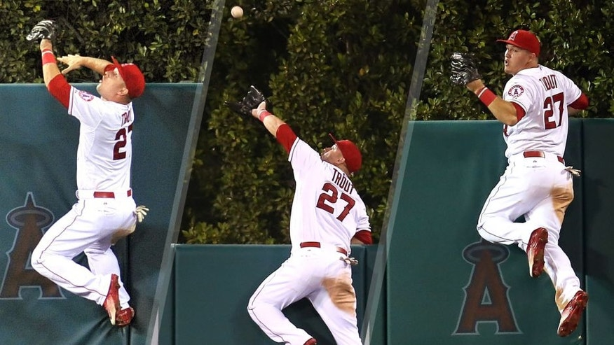 <p>September 26, 2015; Anaheim, CA, USA; Los Angeles Angels center fielder Mike Trout (27) climbs the fence in the fourth inning to catch a fly ball hit by Seattle Mariners first baseman Jesus Montero (not pictured) at Angel Stadium of Anaheim. Mandatory Credit: Gary A. Vasquez-USA TODAY Sports ANAHEIM, CA - SEPTEMBER 26: Center fielder Mike Trout #27 of the Los Angeles Angels of Anaheim jumps at the wall and makes the catch to take a home away from Jesus Montero of the Seattle Mariners in the fourth inning at Angel Stadium of Anaheim on September 26, 2015 in Anaheim, California. (Photo by Stephen Dunn/Getty Images) ANAHEIM, CA - SEPTEMBER 26: Center fielder Mike Trout #27 of the Los Angeles Angels of Anaheim reacts after jumping at the wall and making the catch to take a home away from Jesus Montero of the Seattle Mariners in the fourth inning at Angel Stadium of Anaheim on September 26, 2015 in Anaheim, California. (Photo by Stephen Dunn/Getty Images),September 26, 2015; Anaheim, CA, USA; Los Angeles Angels center fielder Mike Trout (27) climbs the fence in the fourth inning to catch a fly ball hit by Seattle Mariners first baseman Jesus Montero (not pictured) at Angel Stadium of Anaheim. Mandatory Credit: Gary A. Vasquez-USA TODAY Sports ANAHEIM, CA - SEPTEMBER 26: Center fielder Mike Trout #27 of the Los Angeles Angels of Anaheim jumps at the wall and makes the catch to take a home away from Jesus Montero of the Seattle Mariners in the fourth inning at Angel Stadium of Anaheim on September 26, 2015 in Anaheim, California. (Photo by Stephen Dunn/Getty Images) ANAHEIM, CA - SEPTEMBER 26: Center fielder Mike Trout #27 of the Los Angeles Angels of Anaheim reacts after jumping at the wall and making the catch to take a home away from Jesus Montero of the Seattle Mariners in the fourth inning at Angel Stadium of Anaheim on September 26, 2015 in Anaheim, California. (Photo by Stephen Dunn/Getty Images)</p>