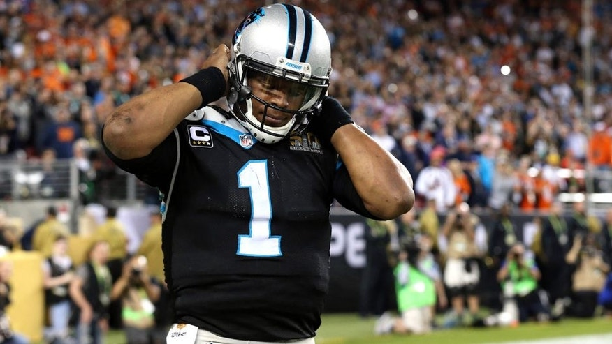 Feb 7, 2016; Santa Clara, CA, USA; Carolina Panthers quarterback Cam Newton (1) reacts after a play during the fourth quarter against the Denver Broncos in Super Bowl 50 at Levi's Stadium. Mandatory Credit: Matthew Emmons-USA TODAY Sports