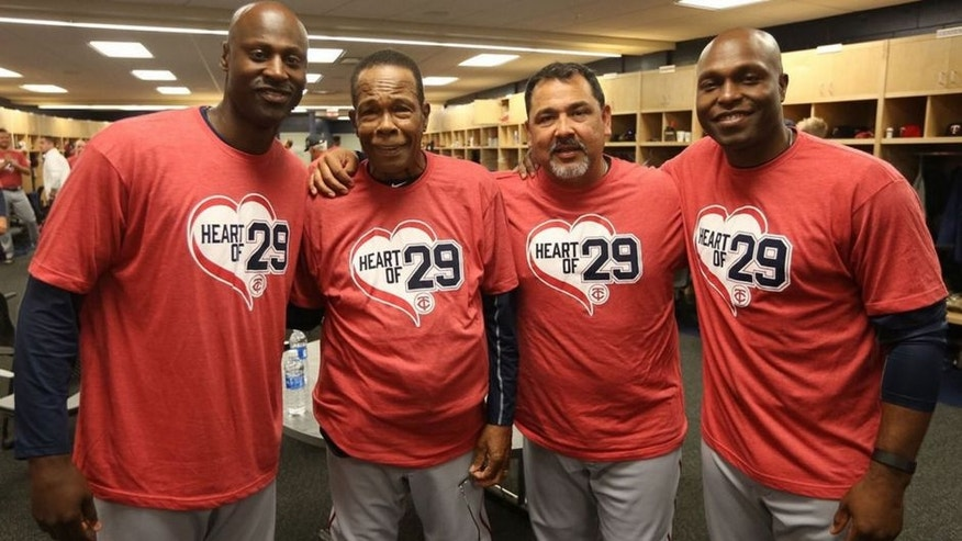 "<p>Minnesota Twins players and staff wore red ""Heart of 29"" T-shirts Saturday at spring training to greet Hall of Famer Rod Carew, who suffered a massive heart attack this past fall. </p>"