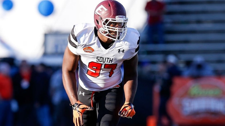 MOBILE, AL - JANUARY 30: Eastern Kentucky Defensive End Noah Spence #97 of the South Team during the 2016 Resse's Senior Bowl at Ladd-Peebles Stadium on January 30, 2016 in Mobile, Alabama. The South defeated the North 27-16. (Photo by Don Juan Moore/Getty Images)