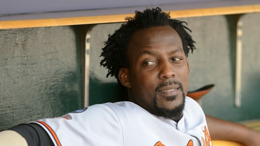 DETROIT, MI - SEPTEMBER 25:  Vladimir Guerrero #27 of the Baltimore Orioles looks on from the dugout during the game against the Detroit Tigers at Comerica Park on September 25, 2011 in Detroit, Michigan. The Tigers defeated the Orioles 10-6.  (Photo by Mark Cunningham/MLB Photos via Getty Images)