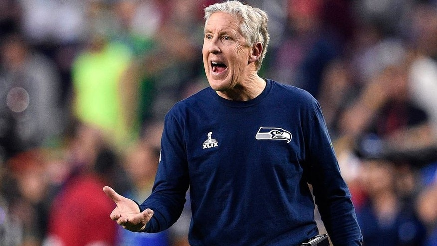 Feb 1, 2015; Glendale, AZ, USA; Seattle Seahawks head coach Pete Carroll during the second quarter against the New England Patriots in Super Bowl XLIX at University of Phoenix Stadium. Mandatory Credit: Kyle Terada-USA TODAY Sports