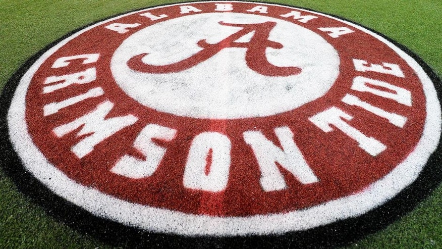 Dec 5, 2014; Atlanta, GA, USA; The Alabama Crimson Tide logo is seen on the field of the Georgia Dome. Alabama plays Missouri in the SEC Championship on Saturday. Mandatory Credit: John David Mercer-USA TODAY Sports