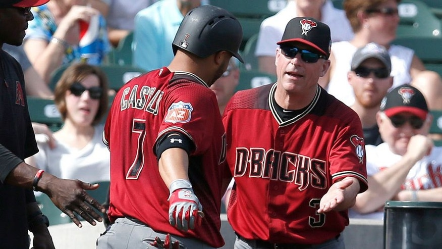 Mar 2, 2016; Salt River Pima-Maricopa, AZ, USA; Arizona Diamondbacks manager Chip Hale (3) celebrates with Welington Castillo (7) after Castillo hit a solo homerun against the Colorado Rockies in the fourth inning during a spring training game at Salt River Fields at Talking Stick. Mandatory Credit: Rick Scuteri-USA TODAY Sports