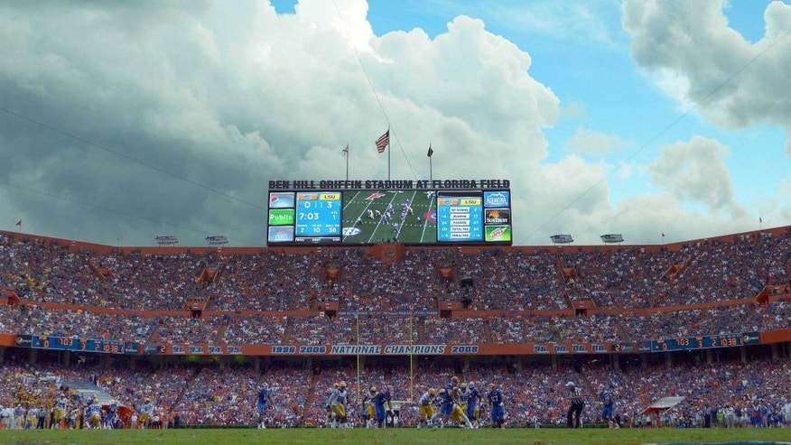 <p>Oct 6, 2012; Gainesville, FL, USA; A general view of a game between the LSU Tigers and Florida Gators during the first quarter at Ben Hill Griffin Stadium. Mandatory Credit: Jake Roth-USA TODAY Sports</p>