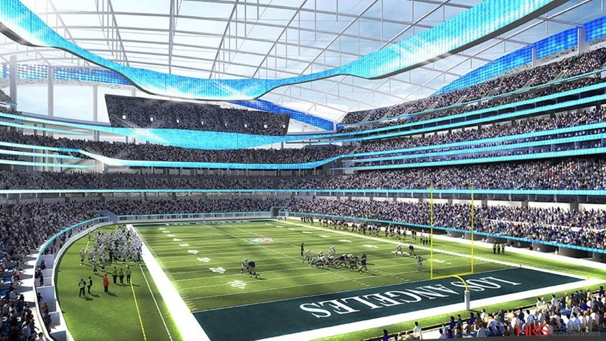 This undated rendering provided by HKS Sports & Entertainment shows a proposed NFL football stadium in Ingewood, Calif. During an NFL owners meeting Tuesday, Jan. 12, 2016, in Houston the owners voted to allow the St. Louis Rams to move to a new stadium just outside Los Angeles, and the San Diego Chargers will have an option to share the facility. The stadium would be at the site of the former Hollywood Park horse-racing track. (HKS Sports & Entertainment via AP)