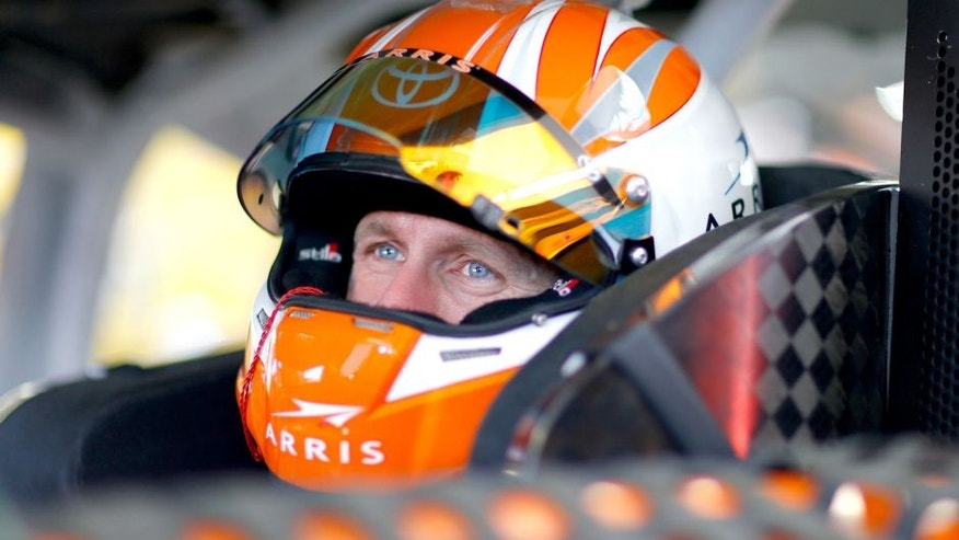 LAS VEGAS, NV - MARCH 04: Carl Edwards, driver of the #19 Arris Toyota, sits in his car during practice for the NASCAR Sprint Cup Series Kobalt 400 at Las Vegas Motor Speedway on March 4, 2016 in Las Vegas, Nevada. (Photo by Jonathan Ferrey/Getty Images)