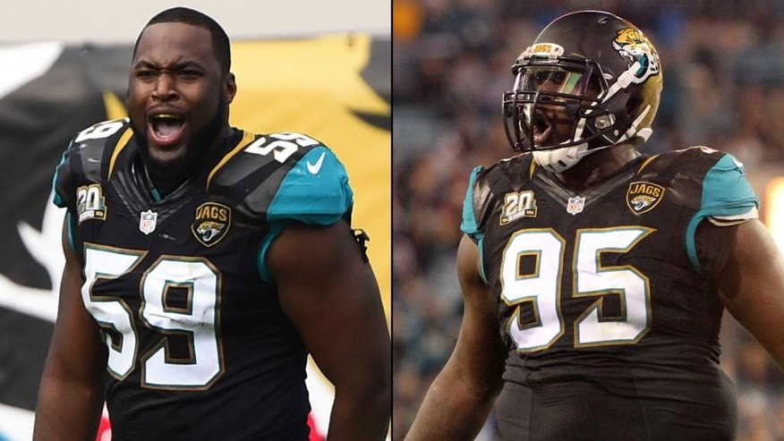 <p>Jacksonville Jaguars players Ryan Davis (left) and Abry Jones (right).<br> </p>