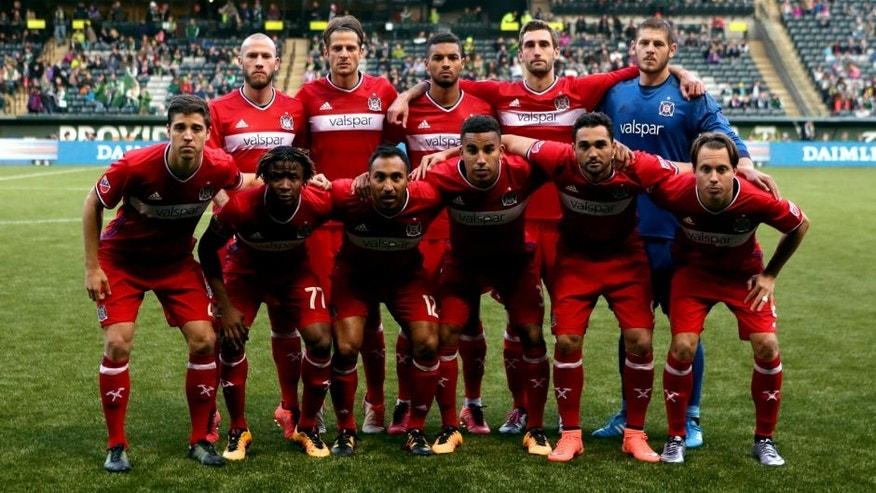 Feb 27, 2016; Portland, OR, USA; Chicago Fire pose for a picture before playing Portland Timbers at Providence Park. Mandatory Credit: Jaime Valdez-USA TODAY Sports