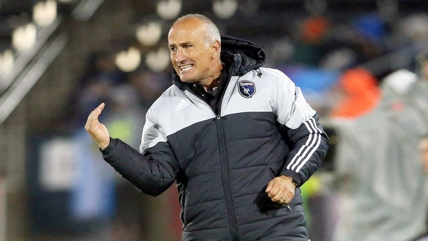 May 8, 2015; Commerce City, CO, USA; San Jose Earthquakes coach Dominic Kinnear reacts during the first half against the Colorado Rapids at Dick's Sporting Goods Park. Mandatory Credit: Chris Humphreys-USA TODAY Sports