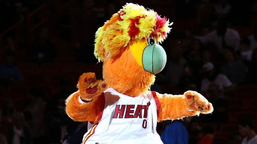 Jan 4, 2016; Miami, FL, USA; Miami Heat mascot Burnie entertains the fan before a game against the Indiana Pacers at American Airlines Arena. Mandatory Credit: Steve Mitchell-USA TODAY Sports