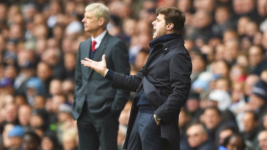 LONDON, ENGLAND - MARCH 05: Mauricio Pochettino Manager of Tottenham Hotspur gestures during the Barclays Premier League match between Tottenham Hotspur and Arsenal at White Hart Lane on March 5, 2016 in London, England. (Photo by Shaun Botterill/Getty Images)