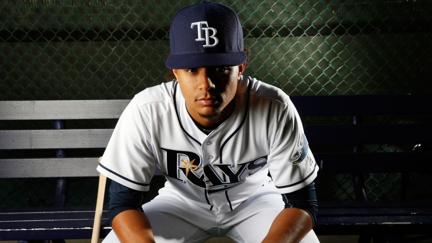 PORT CHARLOTTE, FL - FEBRUARY 25: Pitcher Chris Archer #22 of the Tampa Bay Rays poses for a photo during the Rays' photo day on February 25, 2016 at Charlotte Sports Park in Port Charlotte, Florida. (Photo by Brian Blanco/Getty Images)