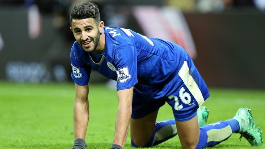 LEICESTER, ENGLAND - MARCH 01 : Riyad Mahrez of Leicester City reacts during the Barclays Premier League match between Leicester City and West Bromwich Albion at the King Power Stadium on March 01 , 2016 in Leicester, United Kingdom. (Photo by Plumb Images/Leicester City FC via Getty Images)