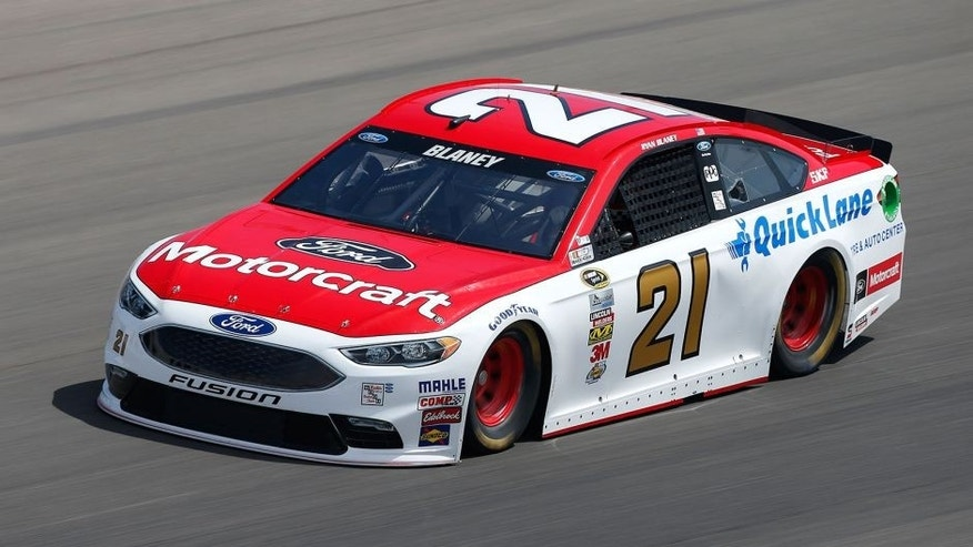 LAS VEGAS, NV - MARCH 04: Ryan Blaney, driver of the #21 Motorcraft / Quick Lane Tire Auto Center Ford, drives during practice for the NASCAR Sprint Cup Series Kobalt 400 at Las Vegas Motor Speedway on March 4, 2016 in Las Vegas, Nevada. (Photo by Brian Lawdermilk/NASCAR via Getty Images)
