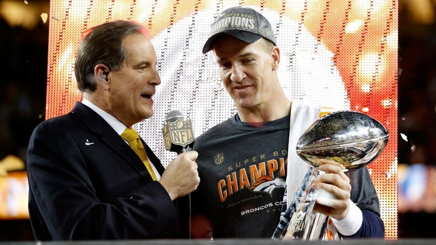 SANTA CLARA, CA - FEBRUARY 07: Peyton Manning #18 of the Denver Broncos is interviewed by Jim Nantz after Super Bowl 50 at Levi's Stadium on February 7, 2016 in Santa Clara, California. The Broncos defeated the Panthers 24-10. (Photo by Ezra Shaw/Getty Images)