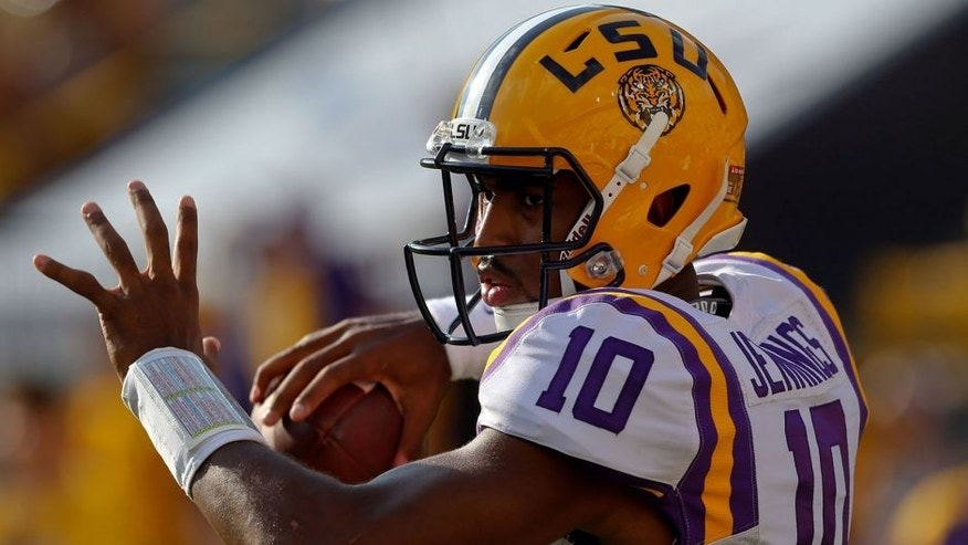 Sep 20, 2014; Baton Rouge, LA, USA; LSU Tigers quarterback Anthony Jennings (10) before a game against the Mississippi State Bulldogs at Tiger Stadium. Mandatory Credit: Derick E. Hingle-USA TODAY Sports