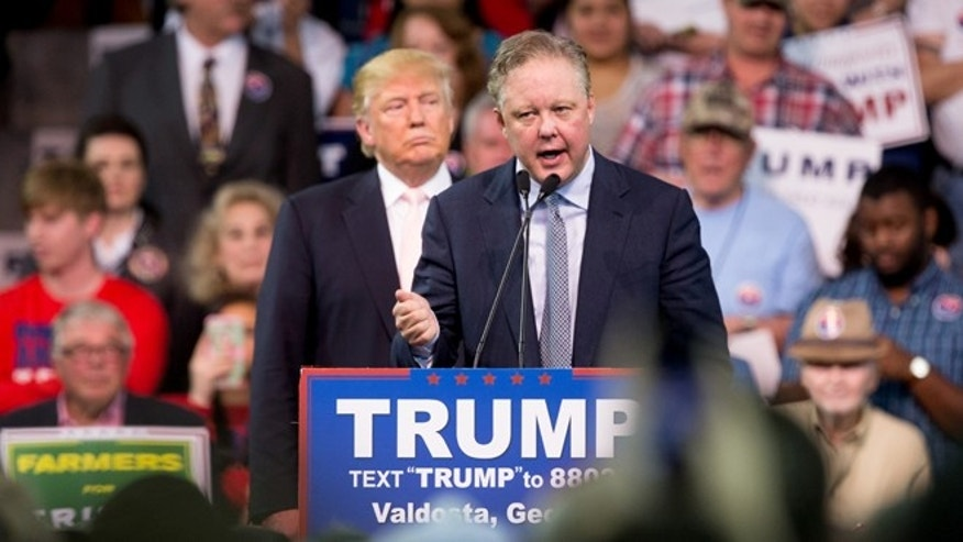 NASCAR Chairman Brian France at a rally for Trump at Valdosta State University on Feb. 29, 2016.