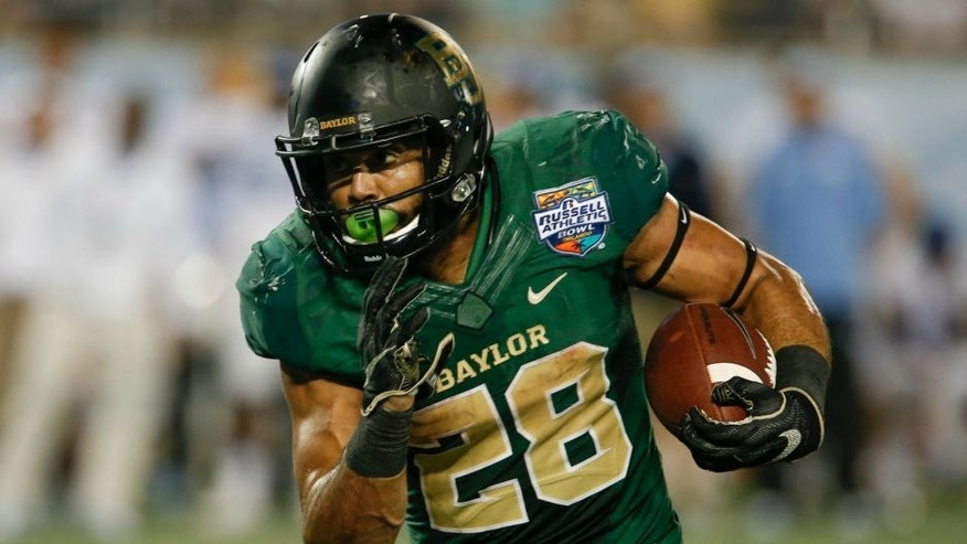 Dec 29, 2015; Orlando, FL, USA; Baylor Bears running back Devin Chafin (28) runs during the second half of a football game against the North Carolina Tar Heels at Florida Citrus Bowl. Mandatory Credit: Reinhold Matay-USA TODAY Sports