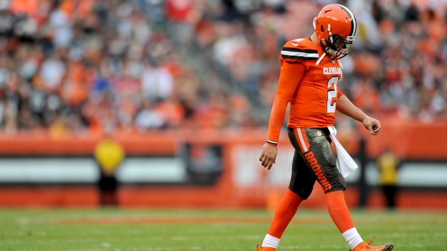CLEVELAND, OH - DECEMBER 13, 2015: Quarterback Johnny Manziel #2 of the Cleveland Browns walks onto the field during a game against the San Francisco 49ers on December 13, 2015 at FirstEnergy Stadium in Cleveland, Ohio. Cleveland won 24-10. (Photo by Nick Cammett/Diamond Images/Getty Images)