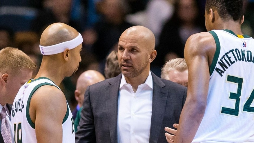 Jan 26, 2016; Milwaukee, WI, USA; Milwaukee Bucks head coach Jason Kidd talks with guard Jerryd Bayless (19) during the third quarter against the Orlando Magic at BMO Harris Bradley Center. Mandatory Credit: Jeff Hanisch-USA TODAY Sports