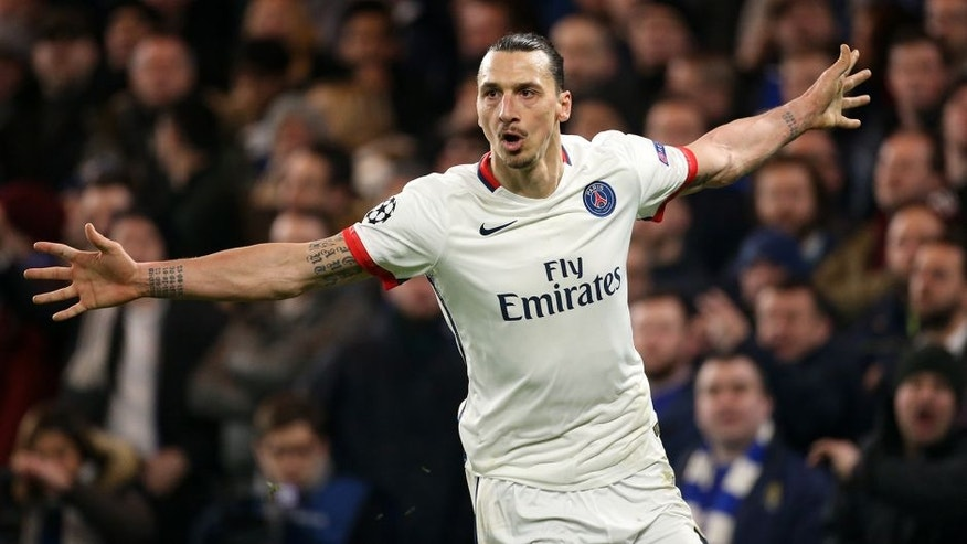 LONDON, ENGLAND - MARCH 9: Zlatan Ibrahimovic of PSG celebrates his goal during the UEFA Champions League round of 16 second leg match between Chelsea FC and Paris Saint-Germain at Stamford Bridge stadium on March 9, 2016 in London, England. (Photo by Jean Catuffe/Getty Images)