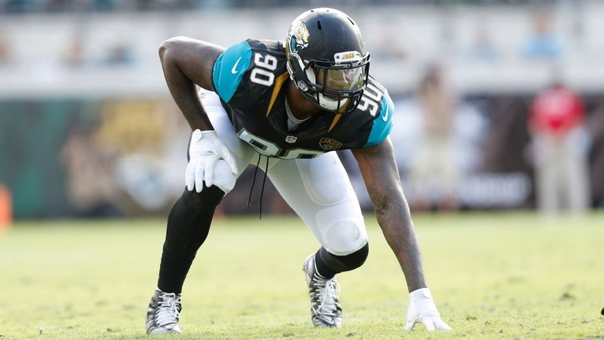 Dec 13, 2015; Jacksonville, FL, USA; Jacksonville Jaguars defensive end Andre Branch (90) lines up to defend against the Indianapolis Colts in the second quarter at EverBank Field. The Jaguars won 51-16. Mandatory Credit: Jim Steve-USA TODAY Sports