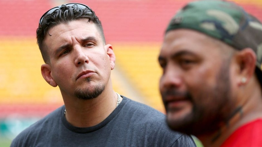 BRISBANE, AUSTRALIA - FEBRUARY 02: UFC Fighters (L) Frank Mir and Mark Hunt (R) talk during a media opportunity at Suncorp Stadium on February 2, 2016 in Brisbane, Australia. (Photo by Chris Hyde/Getty Images)