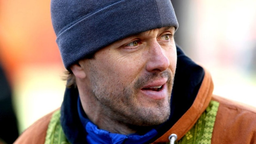 Jan 12, 2014; Denver, CO, USA; Denver Broncos former quarterback Jake Plummer against the San Diego Chargers during the 2013 AFC divisional playoff football game at Sports Authority Field at Mile High. Mandatory Credit: Mark J. Rebilas-USA TODAY Sports