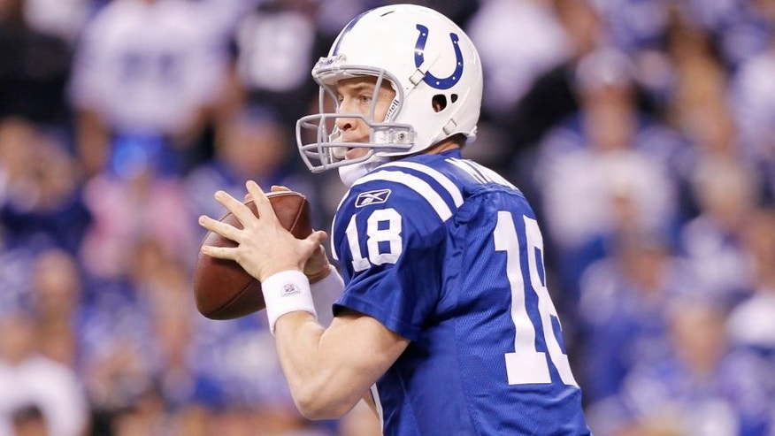 <p>INDIANAPOLIS, IN - JANUARY 08: Peyton Manning #18 of the Indianapolis Colts looks to pass against the New York Jets in the 2011 AFC Wild Card playoff at Lucas Oil Stadium on January 8, 2011 in Indianapolis, Indiana. The Jets defeated the Colts 17-16. (Photo by Joe Robbins/Getty Images) *** Local Caption *** Peyton Manning</p>