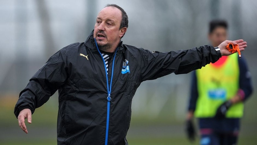NEWCASTLE UPON TYNE, ENGLAND - MARCH 11: Newcastle's New Manager Rafael Benitez gestures during the Newcastle United Training session at The Newcastle United Training Centre on March 11, 2016, in Newcastle upon Tyne, England. (Photo by Serena Taylor/Newcastle United via Getty Images)
