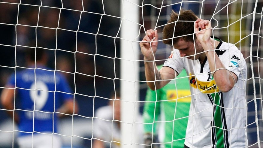 GELSENKIRCHEN, GERMANY - MARCH 18: Havard Nordtveit of Borussia Monchengladbach looks dejected after team mate Martin Hinteregger scores and own goal during the Bundesliga match between FC Schalke 04 and Borussia Moenchengladbach held at Veltins-Arena on March 18, 2016 in Gelsenkirchen, Germany. (Photo by Dean Mouhtaropoulos/Bongarts/Getty Images)