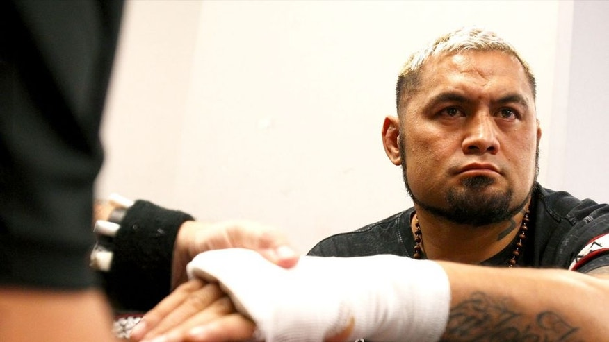 Mark Hunt has his hands wrapped backstage during the UFC Fight Night event inside the Saitama Arena on September 20, 2014 in Saitama, Japan. (Photo by Mike Roach/Zuffa LLC/Zuffa LLC via Getty Images)