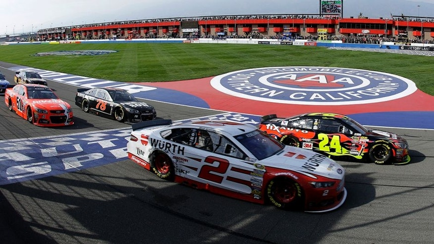 FONTANA, CA - MARCH 22: Jeff Gordon, driver of the #24 Axalta Chevrolet, and Brad Keselowski, driver of the #2 Wurth Ford, leads a pack of cars during the NASCAR Sprint Cup Series Auto Club 400 at Auto Club Speedway on March 22, 2015 in Fontana, California. (Photo by Jeff Gross/Getty Images)