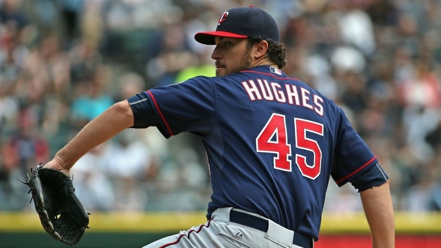 CHICAGO, IL - APRIL 12: at U.S. Cellular Field on April 12, 2015 in Chicago, Illinois. (Photo by Jonathan Daniel/ Getty Images),CHICAGO, IL - APRIL 12: Starting pitcher Phil Hughes #45 of the Minnesota Twins delivers the ball against the Chicago White Sox at U.S. Cellular Field on April 12, 2015 in Chicago, Illinois. (Photo by Jonathan Daniel/Getty Images)