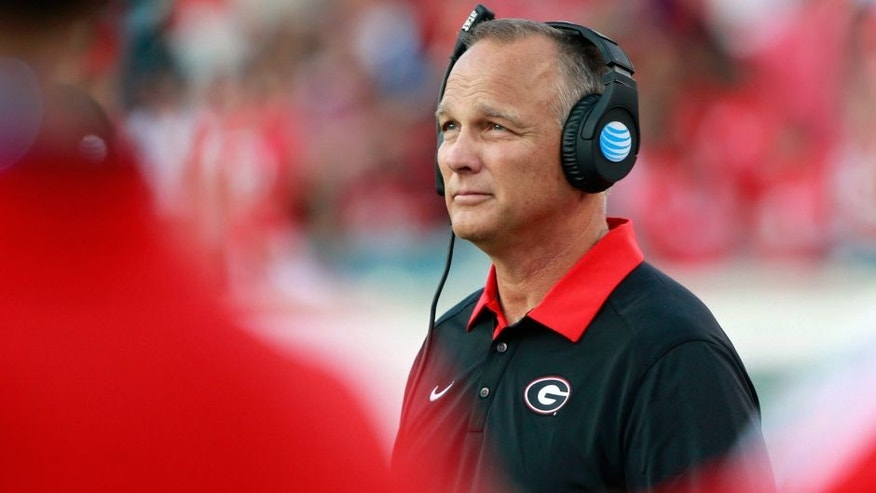 Oct 31, 2015; Jacksonville, FL, USA; Georgia Bulldogs head coach Mark Richt looks on against the Florida Gators during the second half at EverBank Stadium. Florida Gators defeated the Georgia Bulldogs 27-3. Mandatory Credit: Kim Klement-USA TODAY Sports