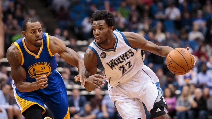 Minnesota Timberwolves forward Andrew Wiggins dribbles in the fourth quarter against the Golden State Warriors at Target Center in Minneapolis on Nov. 12, 2015. The Minnesota Timberwolves lost 129-116.