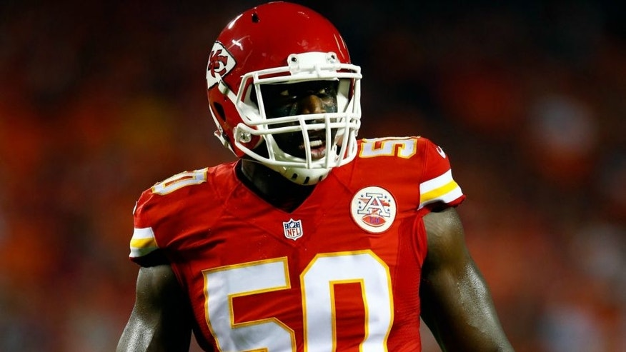 during the preseason game at Arrowhead Stadium on August 28, 2015 in Kansas City, Missouri.,KANSAS CITY, MO - AUGUST 28: Outside linebacker Justin Houston #50 of the Kansas City Chiefs in action during the preseason game against the Tennessee Titans at Arrowhead Stadium on August 28, 2015 in Kansas City, Missouri. (Photo by Jamie Squire/Getty Images)