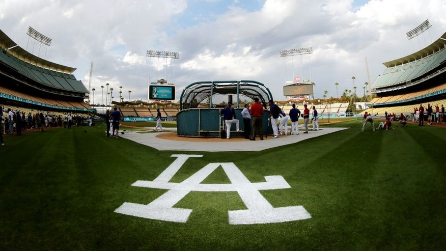 LOS ANGELES, CA - AUGUST 30: A general view of batting practice before the game between the Arizona Diamondbacks and the Los Angeles Dodgers on August 30, 2012 at Dodger Stadium in Los Angeles, California. (Photo by Stephen Dunn/Getty Images)