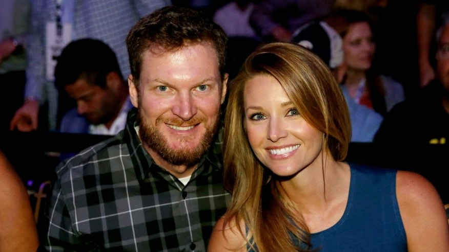 LAS VEGAS, NV - MARCH 05: NASCAR driver Dale Earnhardt Jr. and girlfriend Amy Reimann in attendance at UFC 196 event inside MGM Grand Garden Arena on March 5, 2016 in Las Vegas, Nevada. (Photo by Christian Petersen/Zuffa LLC/Zuffa LLC via Getty Images)