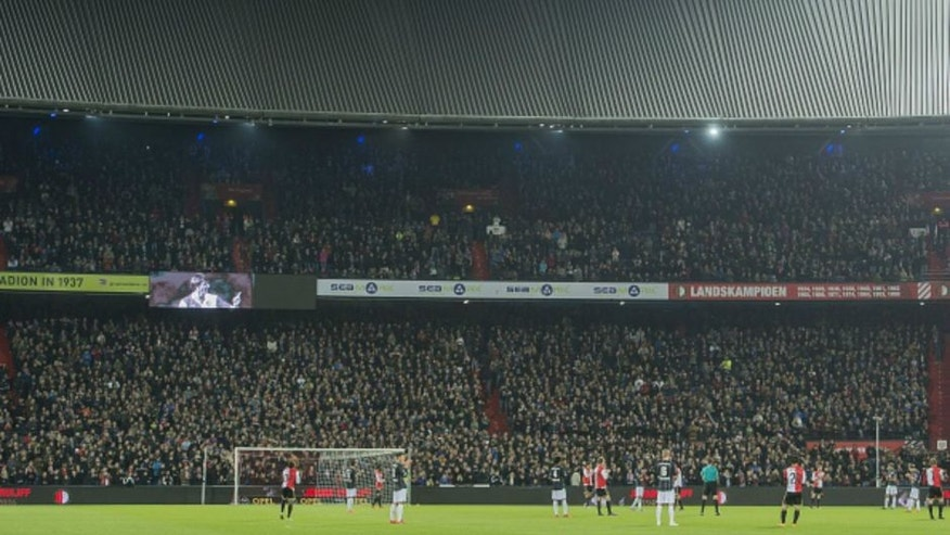 in the 14th minute the match was stopped in hounour of Johan Cruijff during the benefit match between Feyenoord and Sparta Rotterdam on March 24, 2016 at the Kuip stadium in Rotterdam, The Netherlands.(Photo by VI Images via Getty Images)