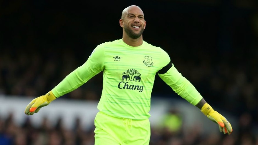 during the Barclays Premier League match between Everton and Aston Villa at Goodison Park on November 21, 2015 in Liverpool, England.