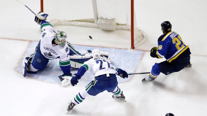 St. Louis Blues' Kyle Brodziak, right, scores past Vancouver Canucks goalie Jacob Markstrom, left and defenseman Ben Hutton (27) during the first period of an NHL hockey game Friday, March 25, 2016, in St. Louis. (AP Photo/Jeff Roberson)
