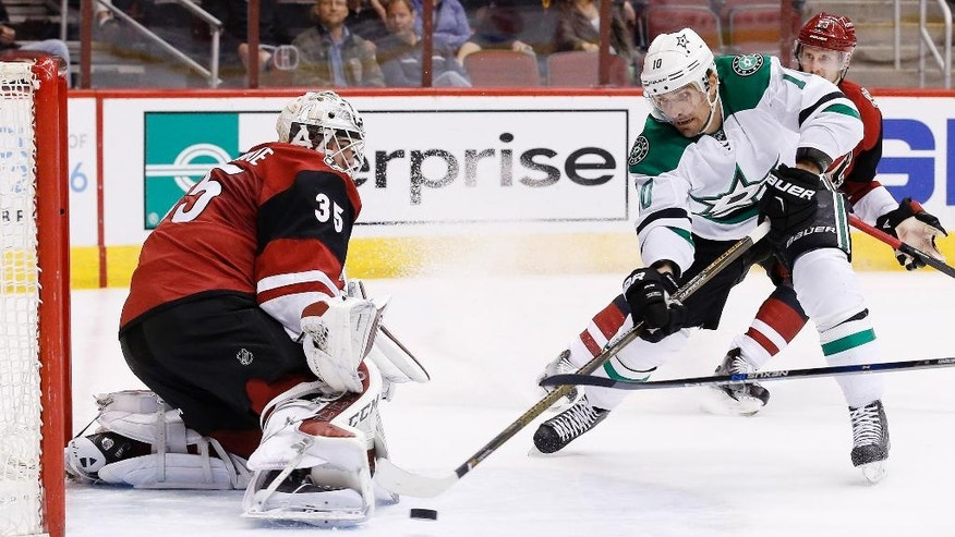 Arizona Coyotes' Louis Domingue (35) makes a save on a shot by Dallas Stars' Patrick Sharp (10) during the first period of an NHL hockey game, Thursday, March 24, 2016, in Glendale, Ariz. (AP Photo/Ross D. Franklin)