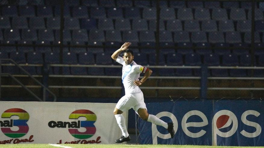 Guatemala's Carlos Ruiz celebrates after scoring against United States during a 2018 Russia World Cup qualifying soccer match at Mateo Flores Stadium in Guatemala City, Friday, March 25, 2016. (AP Photo/ Moises Castillo)