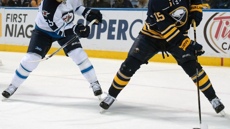 Winnipeg Jets center Mark Scheifele (55) closes on Buffalo Sabres center Jack Eichel (15) as he looks to pass the puck during the first period of an NHL hockey game, Saturday, March 26, 2016, in Buffalo, N.Y. (AP Photo/Gary Wiepert)