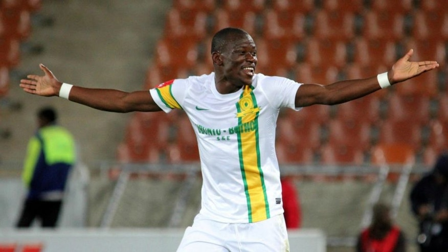 POLOKWANE, SOUTH AFRICA - MAY 07: Hlompho Kekana of Mamelodi Sundowns celebrates his goal during the Absa Premiership match between Black Leopards and Mamelodi Sundowns at Peter Mokaba Stadium on May 07, 2013 in Polokwane, South Africa. (Photo by Philip Maeta/Gallo Images)