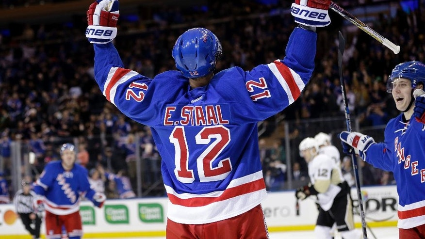 New York Rangers' Eric Staal reacts after scoring his second goal during the second period of the NHL hockey game against the Pittsburgh Penguins, Sunday, March 27, 2016, in New York. (AP Photo/Seth Wenig)